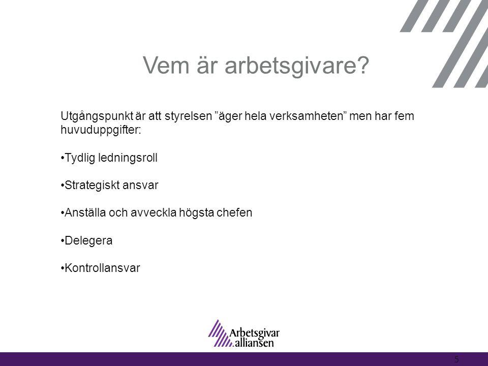 """Vem är arbetsgivare? 5 Utgångspunkt är att styrelsen """"äger hela verksamheten"""" men har fem huvuduppgifter: •Tydlig ledningsroll •Strategiskt ansvar •An"""