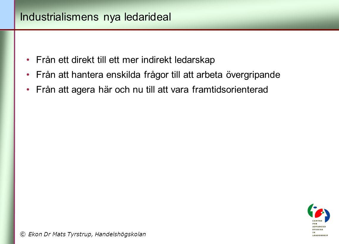 © Ekon Dr Mats Tyrstrup, Handelshögskolan •Från ett direkt till ett mer indirekt ledarskap •Från att hantera enskilda frågor till att arbeta övergripa