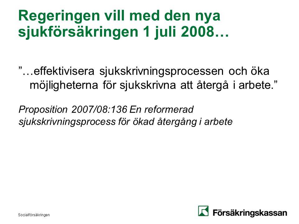 Socialförsäkringen Regeringen vill med den nya sjukförsäkringen 1 juli 2008… …effektivisera sjukskrivningsprocessen och öka möjligheterna för sjukskrivna att återgå i arbete. Proposition 2007/08:136 En reformerad sjukskrivningsprocess för ökad återgång i arbete