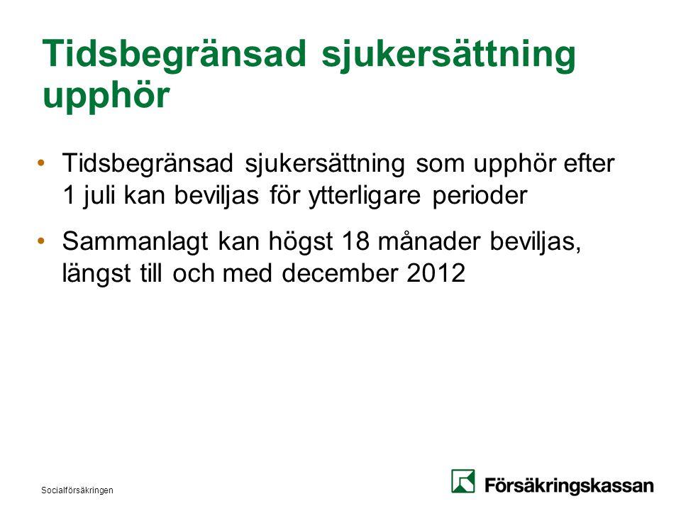 Socialförsäkringen Tidsbegränsad sjukersättning upphör •Tidsbegränsad sjukersättning som upphör efter 1 juli kan beviljas för ytterligare perioder •Sammanlagt kan högst 18 månader beviljas, längst till och med december 2012