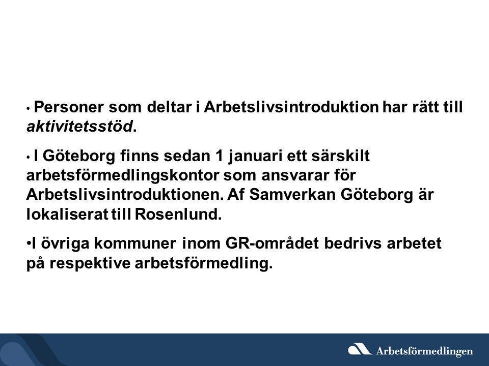 • Personer som deltar i Arbetslivsintroduktion har rätt till aktivitetsstöd. • I Göteborg finns sedan 1 januari ett särskilt arbetsförmedlingskontor s
