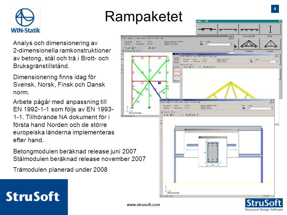 4 januari 2006www.strusoft.com Rampaketet Analys och dimensionering av 2-dimensionella ramkonstruktioner av betong, stål och trä i Brott- och Bruksgrä