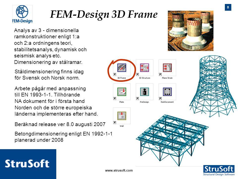 8 januari 2006www.strusoft.com Analys av 3 - dimensionella ramkonstruktioner enligt 1:a och 2:a ordningens teori, stabilitetsanalys, dynamisk och seis