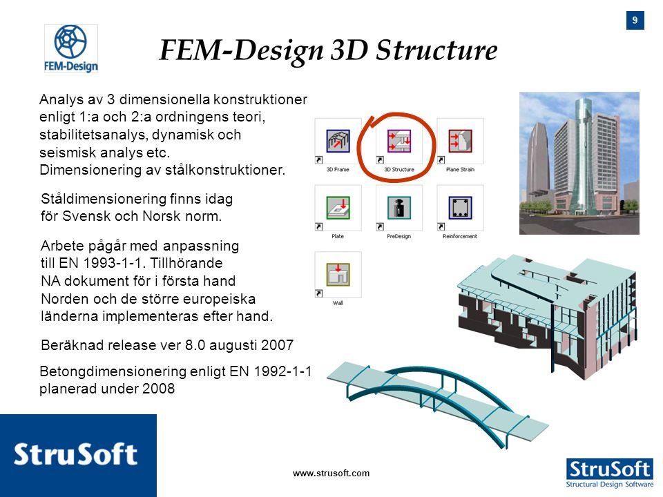 9 januari 2006www.strusoft.com Analys av 3 dimensionella konstruktioner enligt 1:a och 2:a ordningens teori, stabilitetsanalys, dynamisk och seismisk