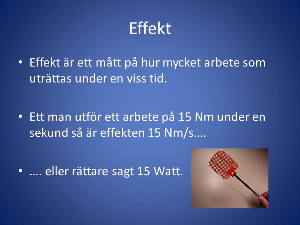 Effekt • Effekt är ett mått på hur mycket arbete som uträttas under en viss tid.