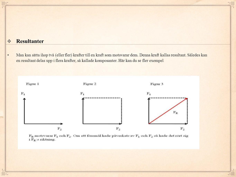 Resultanter • Man kan sätta ihop två (eller fler) krafter till en kraft som motsvarar dem. Denna kraft kallas resultant. Således kan en resultant dela