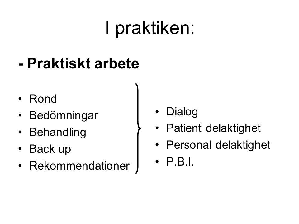 I praktiken: - Praktiskt arbete •Rond •Bedömningar •Behandling •Back up •Rekommendationer •Dialog •Patient delaktighet •Personal delaktighet •P.B.I.