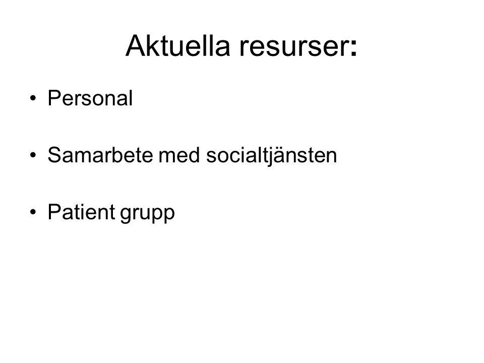 Aktuella resurser: •Personal •Samarbete med socialtjänsten •Patient grupp