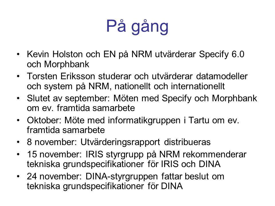 På gång •Kevin Holston och EN på NRM utvärderar Specify 6.0 och Morphbank •Torsten Eriksson studerar och utvärderar datamodeller och system på NRM, na