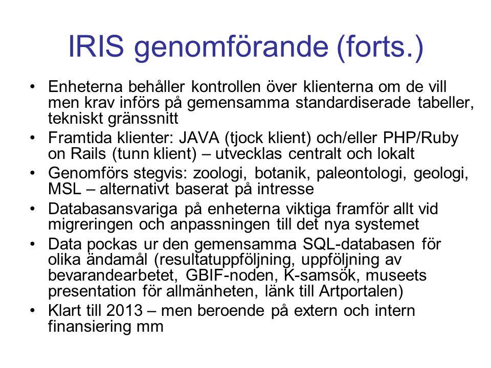 GBIF-SE GBIF Klient Databas (SQL) Web Services FileMaker Access Paradox Databas NRM
