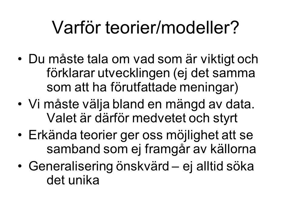 Varför teorier/modeller.