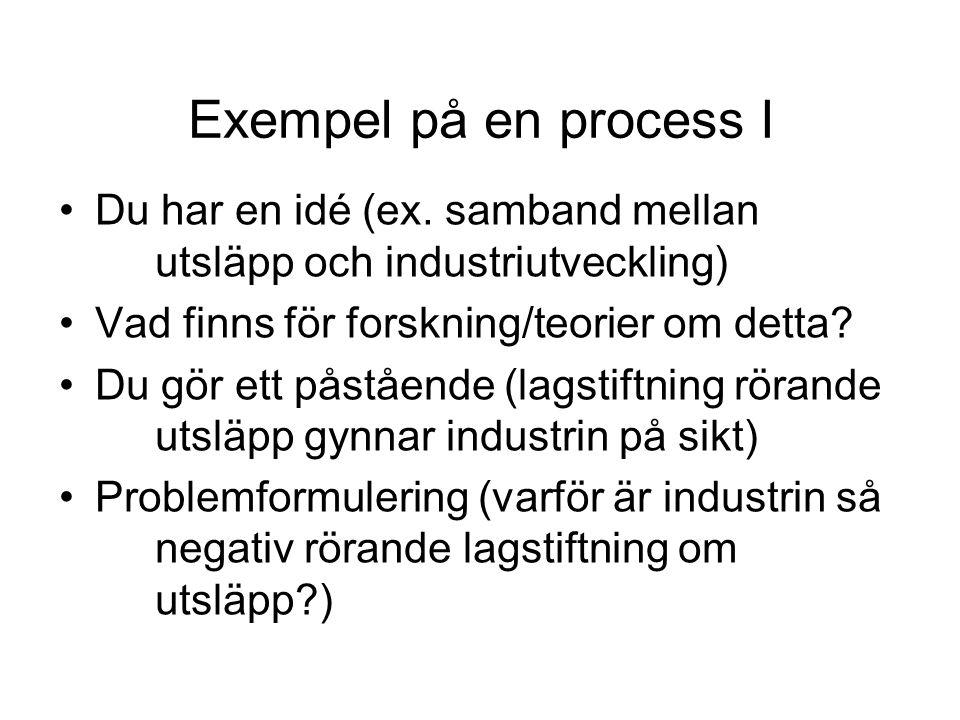 Exempel på en process I •Du har en idé (ex.