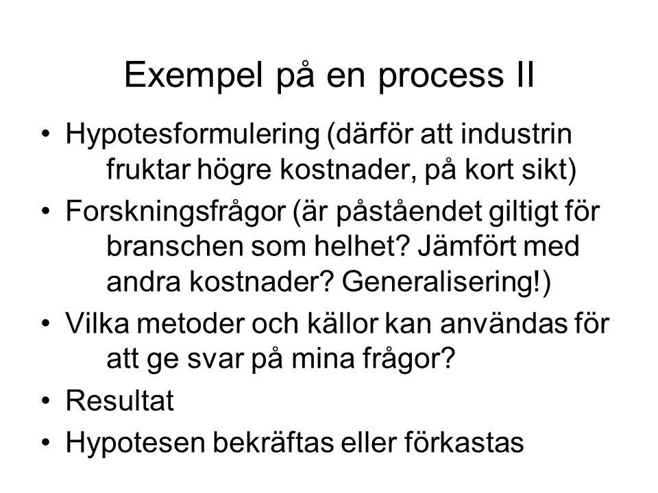 Exempel på en process II •Hypotesformulering (därför att industrin fruktar högre kostnader, på kort sikt) •Forskningsfrågor (är påståendet giltigt för branschen som helhet.