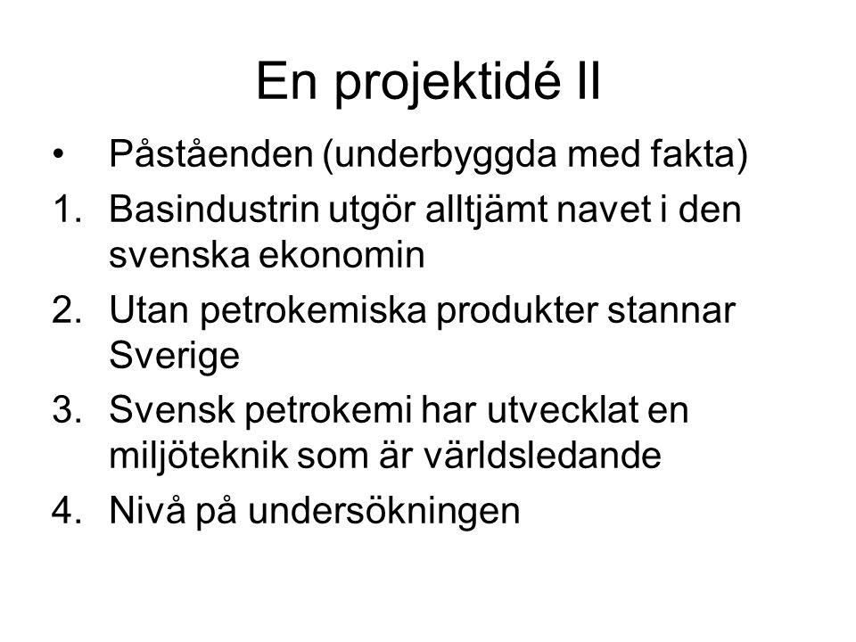 En projektidé II •Påståenden (underbyggda med fakta) 1.Basindustrin utgör alltjämt navet i den svenska ekonomin 2.Utan petrokemiska produkter stannar Sverige 3.Svensk petrokemi har utvecklat en miljöteknik som är världsledande 4.Nivå på undersökningen