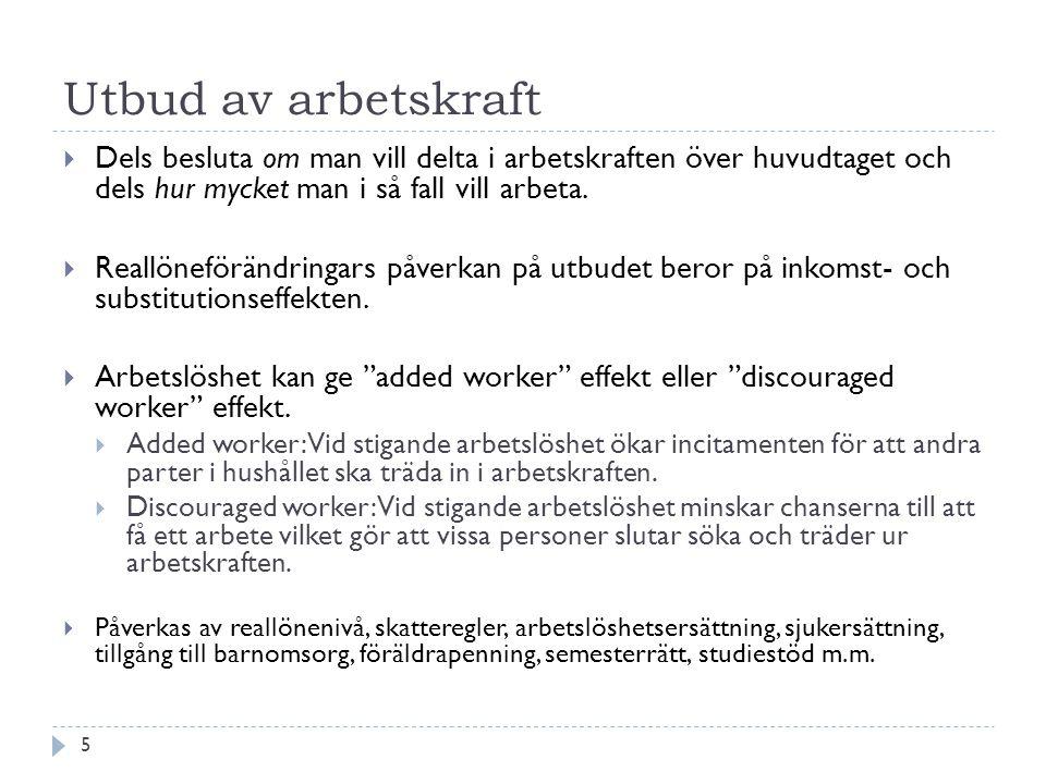 Utbud av arbetskraft  Dels besluta om man vill delta i arbetskraften över huvudtaget och dels hur mycket man i så fall vill arbeta.  Reallöneförändr