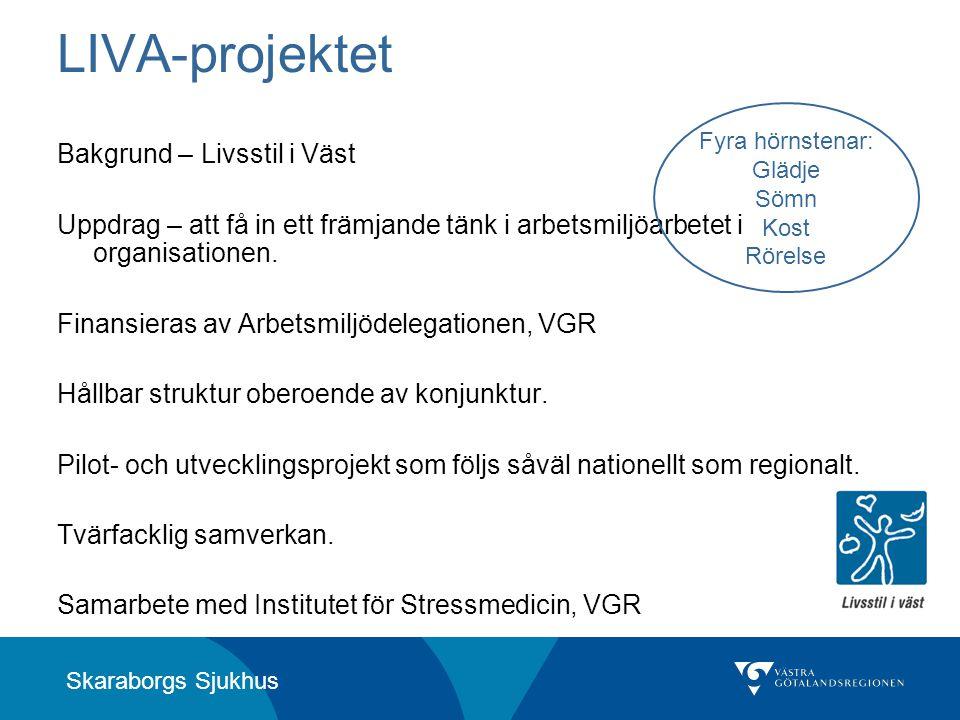 Skaraborgs Sjukhus LIVA-projektet Bakgrund – Livsstil i Väst Uppdrag – att få in ett främjande tänk i arbetsmiljöarbetet i organisationen. Finansieras