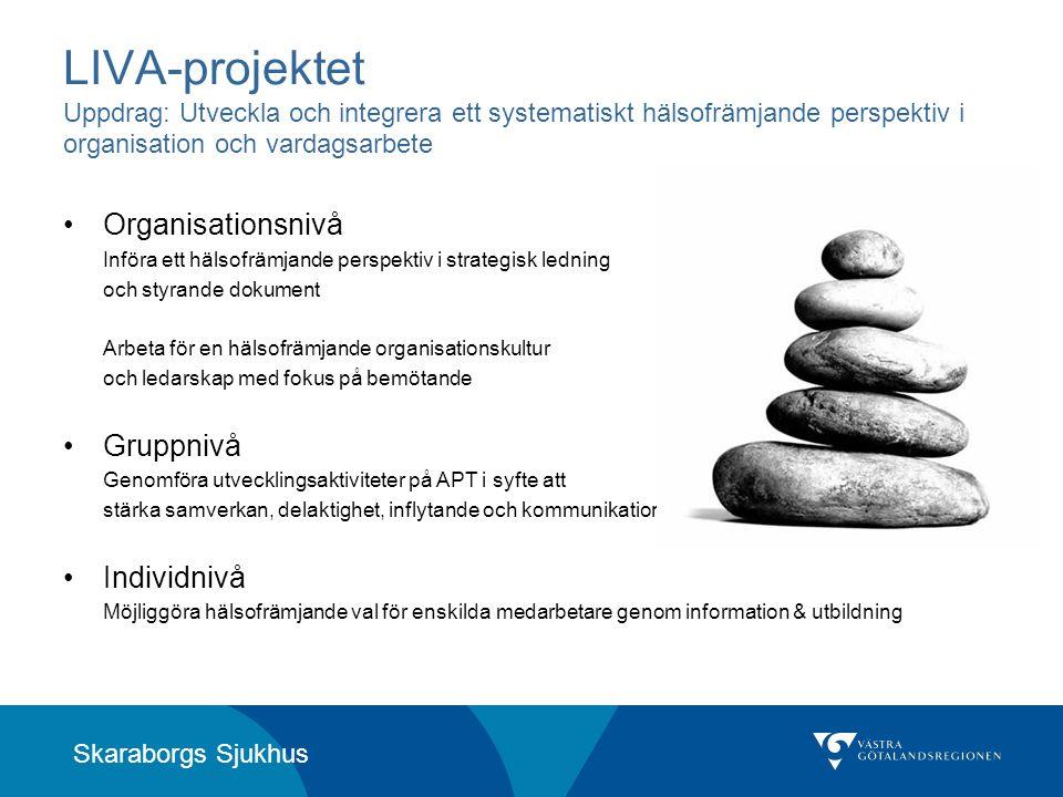 Skaraborgs Sjukhus LIVA-projektet Uppdrag: Utveckla och integrera ett systematiskt hälsofrämjande perspektiv i organisation och vardagsarbete •Organis
