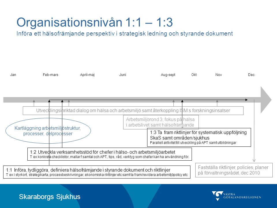 Skaraborgs Sjukhus Organisationsnivån 1:1 – 1:3 Införa ett hälsofrämjande perspektiv i strategisk ledning och styrande dokument JanFeb-marsApril-majJu