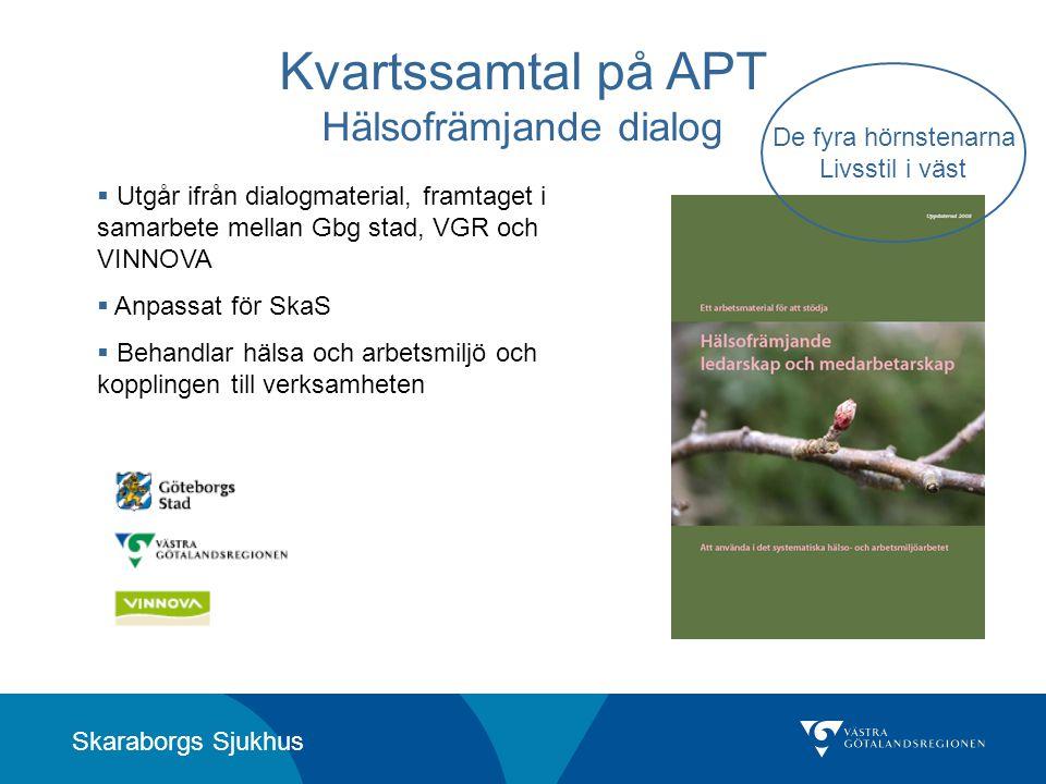 Skaraborgs Sjukhus Kvartssamtal på APT Hälsofrämjande dialog  Utgår ifrån dialogmaterial, framtaget i samarbete mellan Gbg stad, VGR och VINNOVA  An