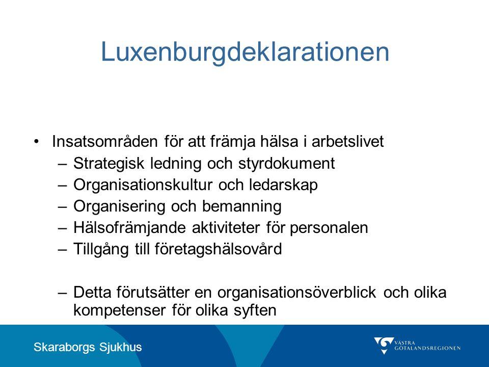 Skaraborgs Sjukhus Luxenburgdeklarationen •Insatsområden för att främja hälsa i arbetslivet –Strategisk ledning och styrdokument –Organisationskultur
