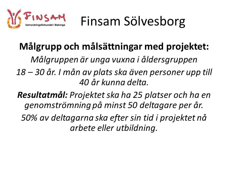 Finsam Sölvesborg Målgrupp och målsättningar med projektet: Målgruppen är unga vuxna i åldersgruppen 18 – 30 år.