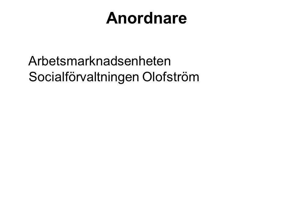 Anordnare Arbetsmarknadsenheten Socialförvaltningen Olofström