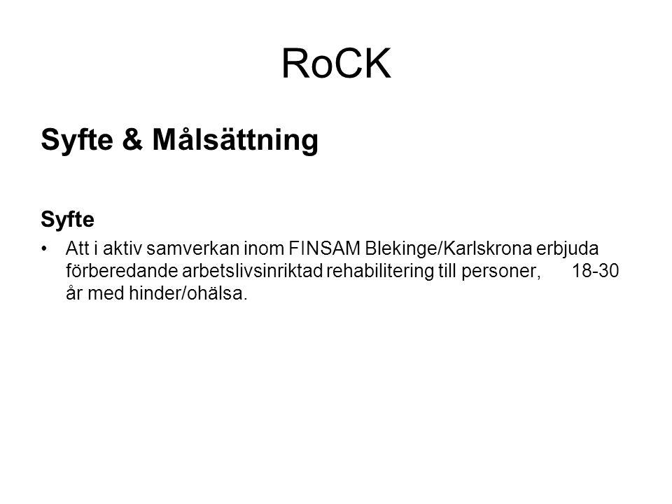 RoCK Syfte & Målsättning Syfte •Att i aktiv samverkan inom FINSAM Blekinge/Karlskrona erbjuda förberedande arbetslivsinriktad rehabilitering till personer, 18-30 år med hinder/ohälsa.