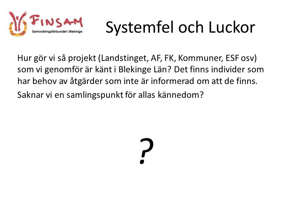 Systemfel och Luckor Hur gör vi så projekt (Landstinget, AF, FK, Kommuner, ESF osv) som vi genomför är känt i Blekinge Län.
