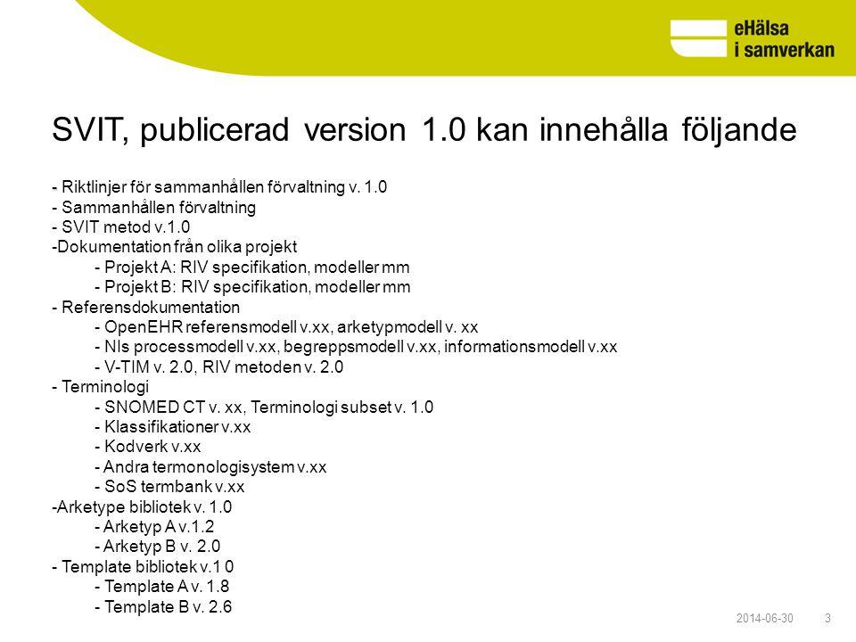 SVIT, publicerad version 1.0 kan innehålla följande 32014-06-30 - - Riktlinjer för sammanhållen förvaltning v. 1.0 - Sammanhållen förvaltning - SVIT m