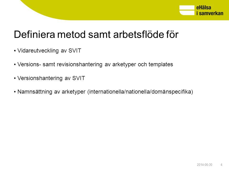 Definiera metod samt arbetsflöde för 42014-06-30 • • Vidareutveckling av SVIT • Versions- samt revisionshantering av arketyper och templates • Version