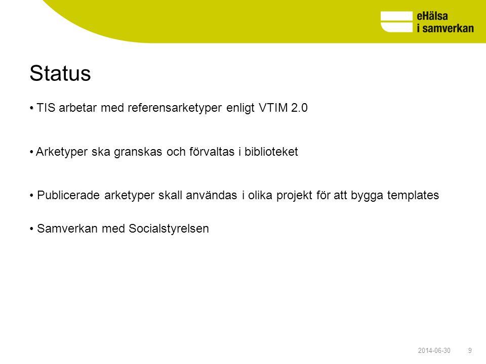 Status 92014-06-30 • • TIS arbetar med referensarketyper enligt VTIM 2.0 • Arketyper ska granskas och förvaltas i biblioteket • Publicerade arketyper
