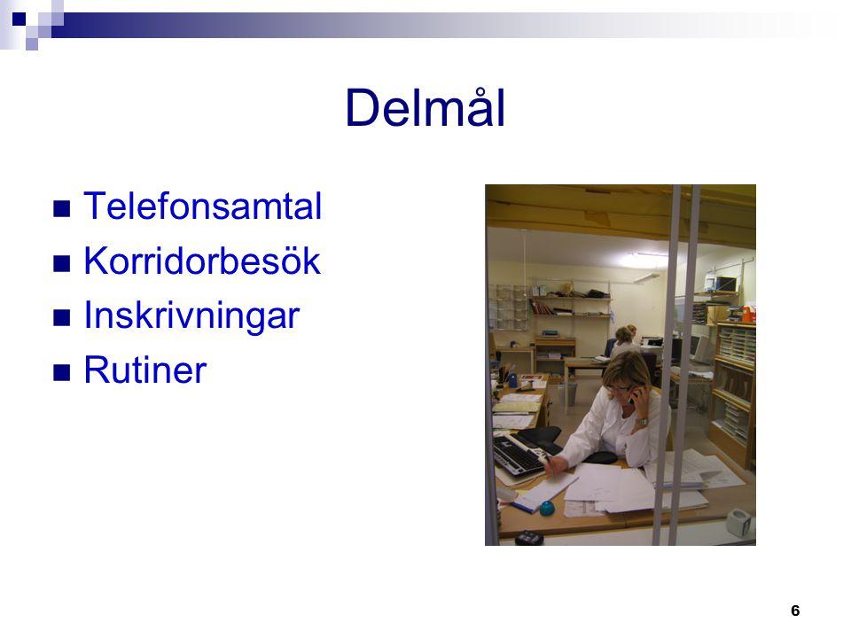 6 Delmål  Telefonsamtal  Korridorbesök  Inskrivningar  Rutiner