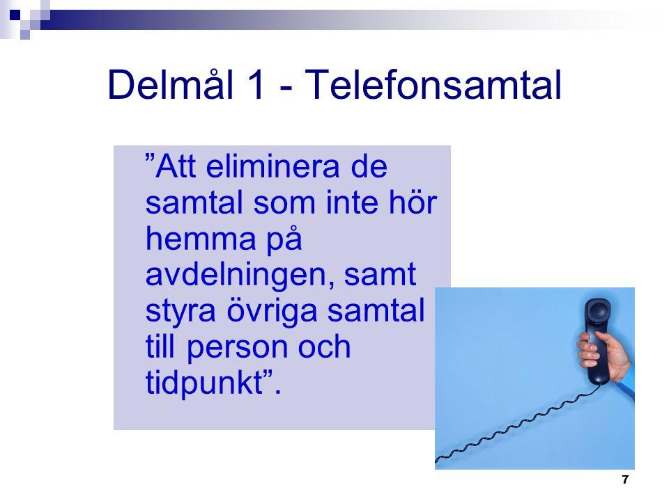 """7 Delmål 1 - Telefonsamtal """"Att eliminera de samtal som inte hör hemma på avdelningen, samt styra övriga samtal till person och tidpunkt""""."""