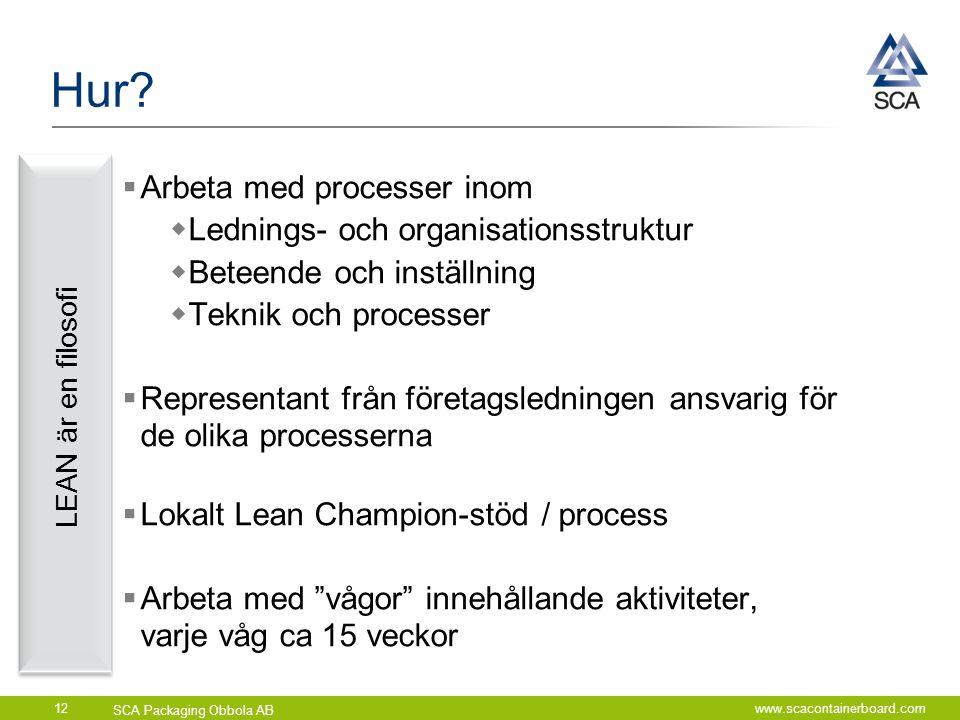 SCA Packaging Obbola AB www.scacontainerboard.com12 Hur?  Arbeta med processer inom  Lednings- och organisationsstruktur  Beteende och inställning