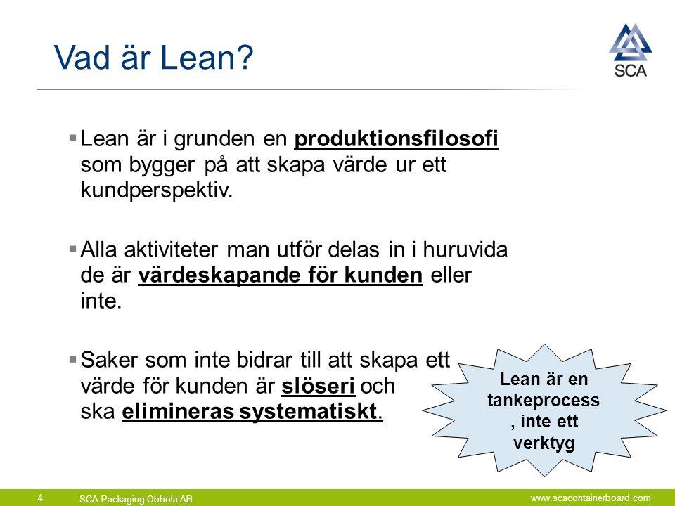 SCA Packaging Obbola AB www.scacontainerboard.com4  Lean är i grunden en produktionsfilosofi som bygger på att skapa värde ur ett kundperspektiv.  A