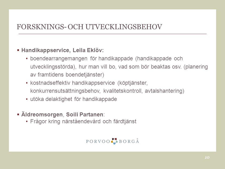 FORSKNINGS- OCH UTVECKLINGSBEHOV  Handikappservice, Leila Eklöv: •boendearrangemangen för handikappade (handikappade och utvecklingsstörda), hur man