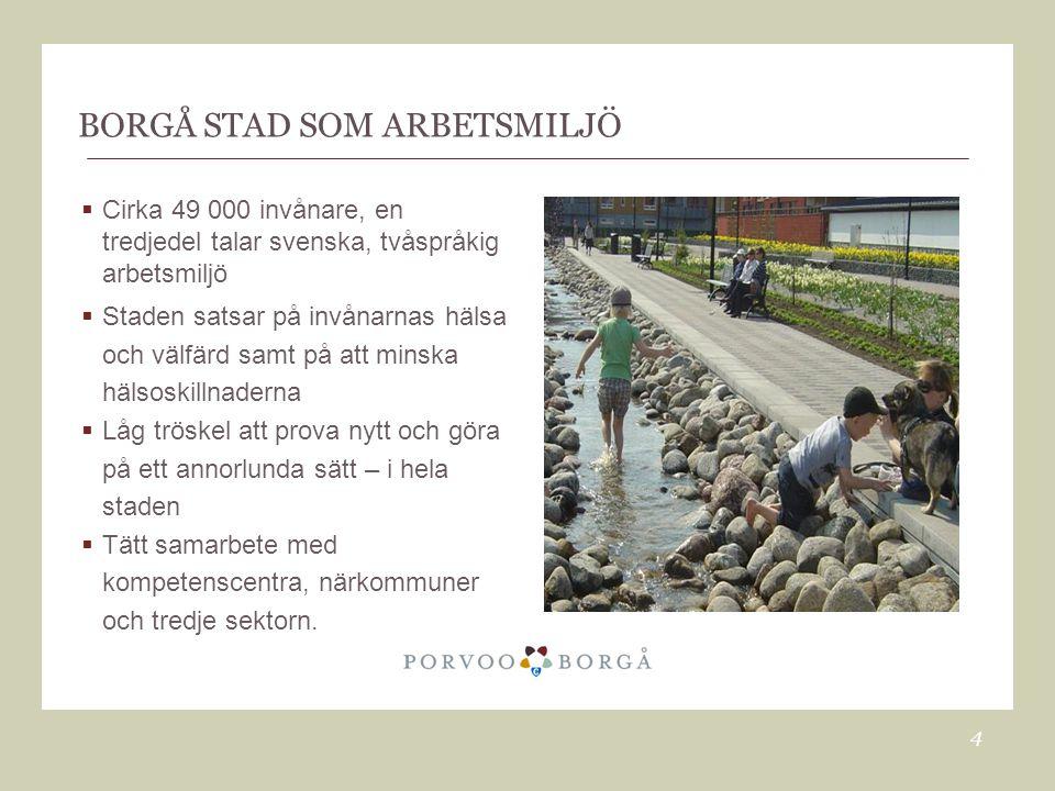BORGÅ STAD SOM ARBETSMILJÖ  Cirka 49 000 invånare, en tredjedel talar svenska, tvåspråkig arbetsmiljö  Staden satsar på invånarnas hälsa och välfärd