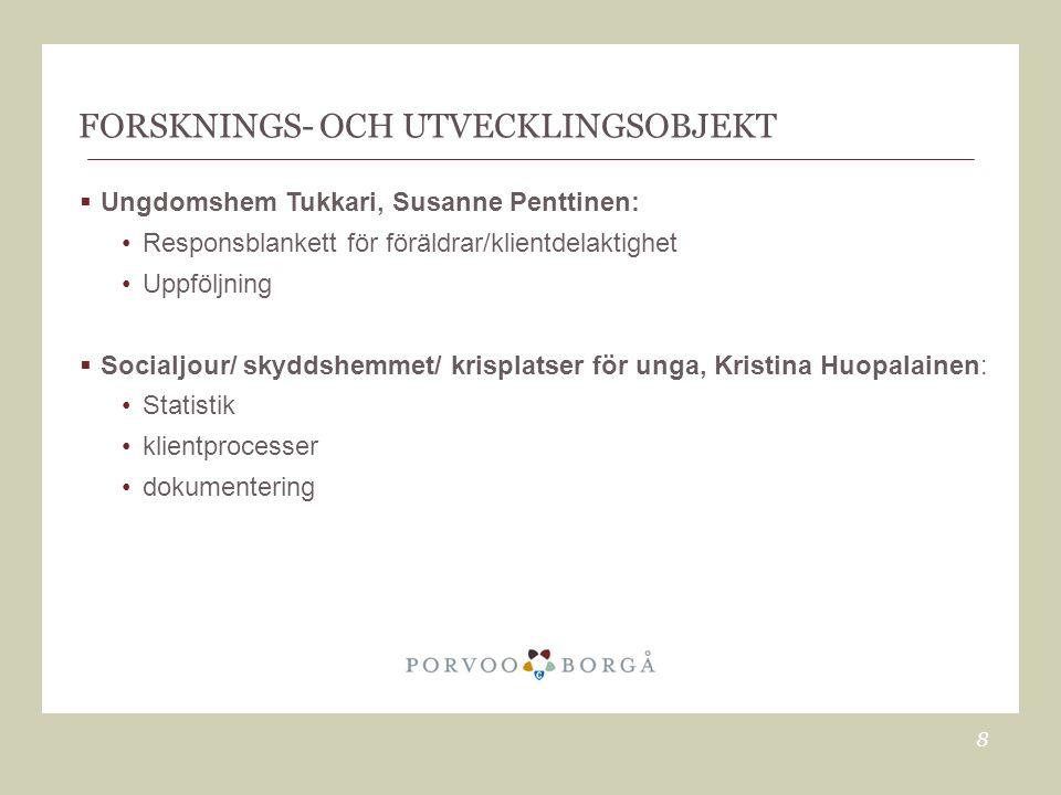 FORSKNINGS- OCH UTVECKLINGSOBJEKT  Ungdomshem Tukkari, Susanne Penttinen: •Responsblankett för föräldrar/klientdelaktighet •Uppföljning  Socialjour/