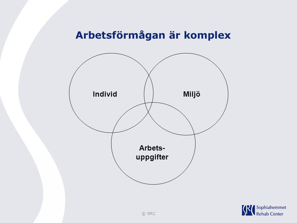 © SRC IndividMiljö Arbets- uppgifter Arbetsförmågan är komplex