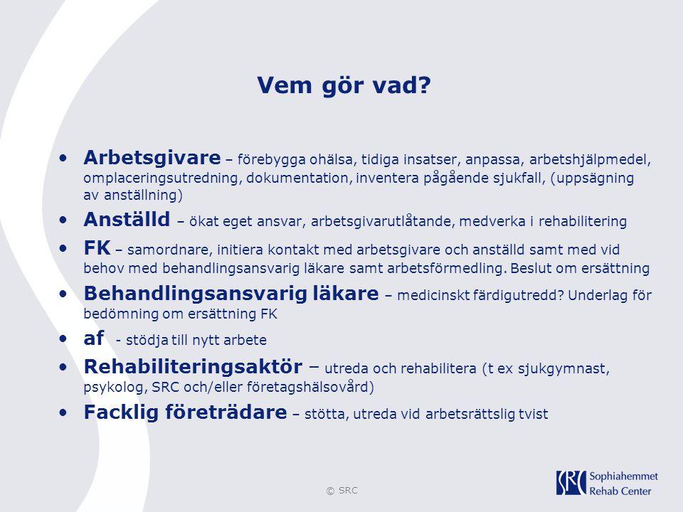 © SRC Vem gör vad? •Arbetsgivare – förebygga ohälsa, tidiga insatser, anpassa, arbetshjälpmedel, omplaceringsutredning, dokumentation, inventera pågåe
