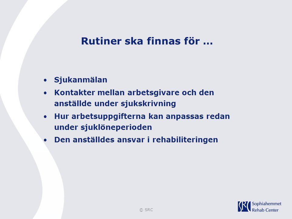© SRC Rutiner ska finnas för … •Sjukanmälan •Kontakter mellan arbetsgivare och den anställde under sjukskrivning •Hur arbetsuppgifterna kan anpassas r