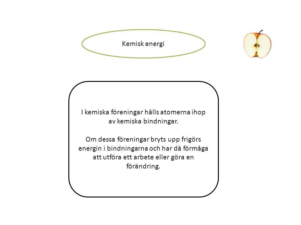 Kemisk energi I kemiska föreningar hålls atomerna ihop av kemiska bindningar. Om dessa föreningar bryts upp frigörs energin i bindningarna och har då