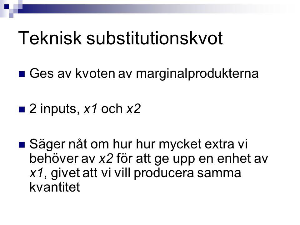 Teknisk substitutionskvot  Ges av kvoten av marginalprodukterna  2 inputs, x1 och x2  Säger nåt om hur hur mycket extra vi behöver av x2 för att ge