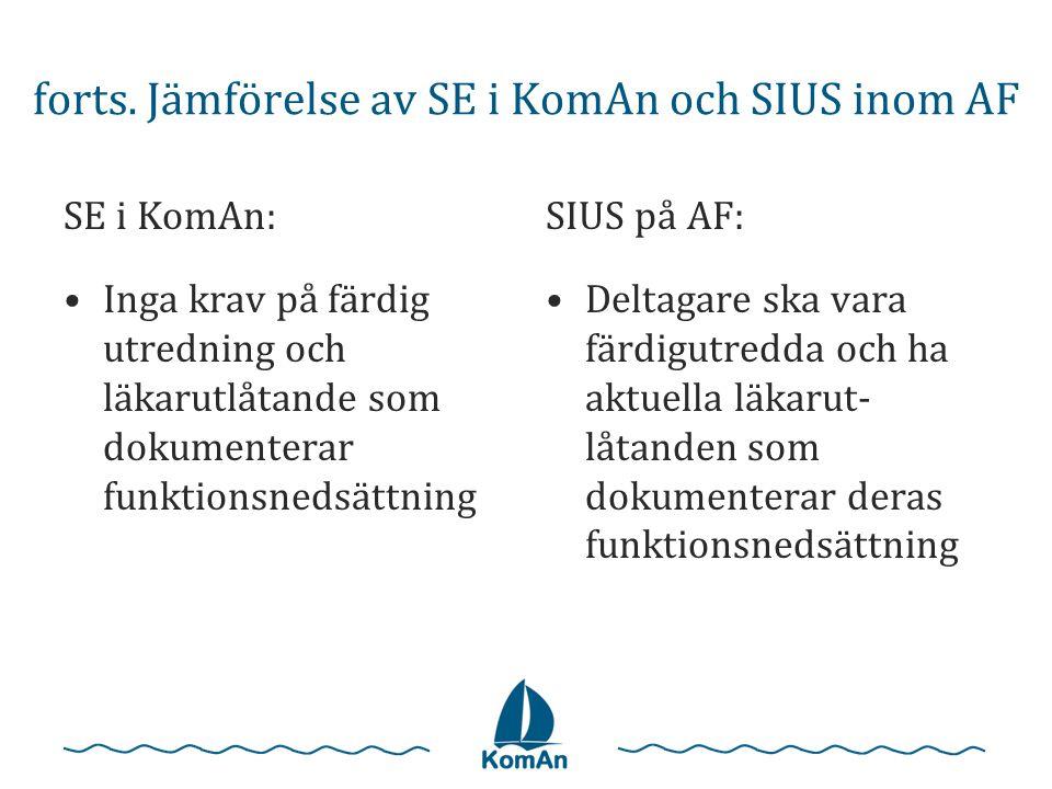 forts. Jämförelse av SE i KomAn och SIUS inom AF SE i KomAn: •Inga krav på färdig utredning och läkarutlåtande som dokumenterar funktionsnedsättning S