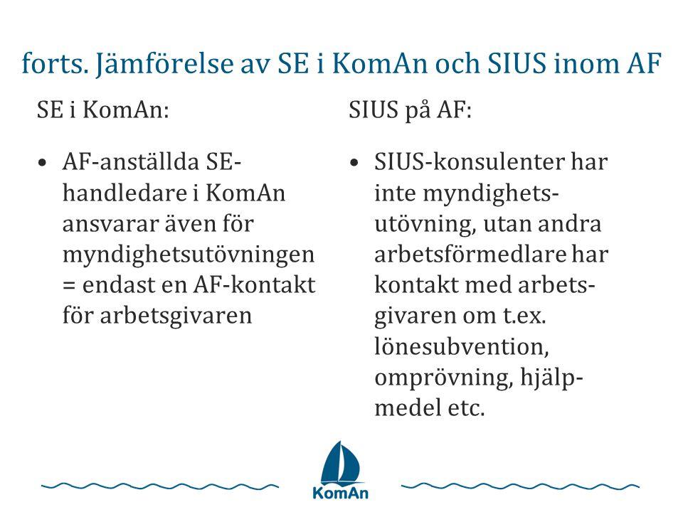 forts. Jämförelse av SE i KomAn och SIUS inom AF SE i KomAn: •AF-anställda SE- handledare i KomAn ansvarar även för myndighetsutövningen = endast en A