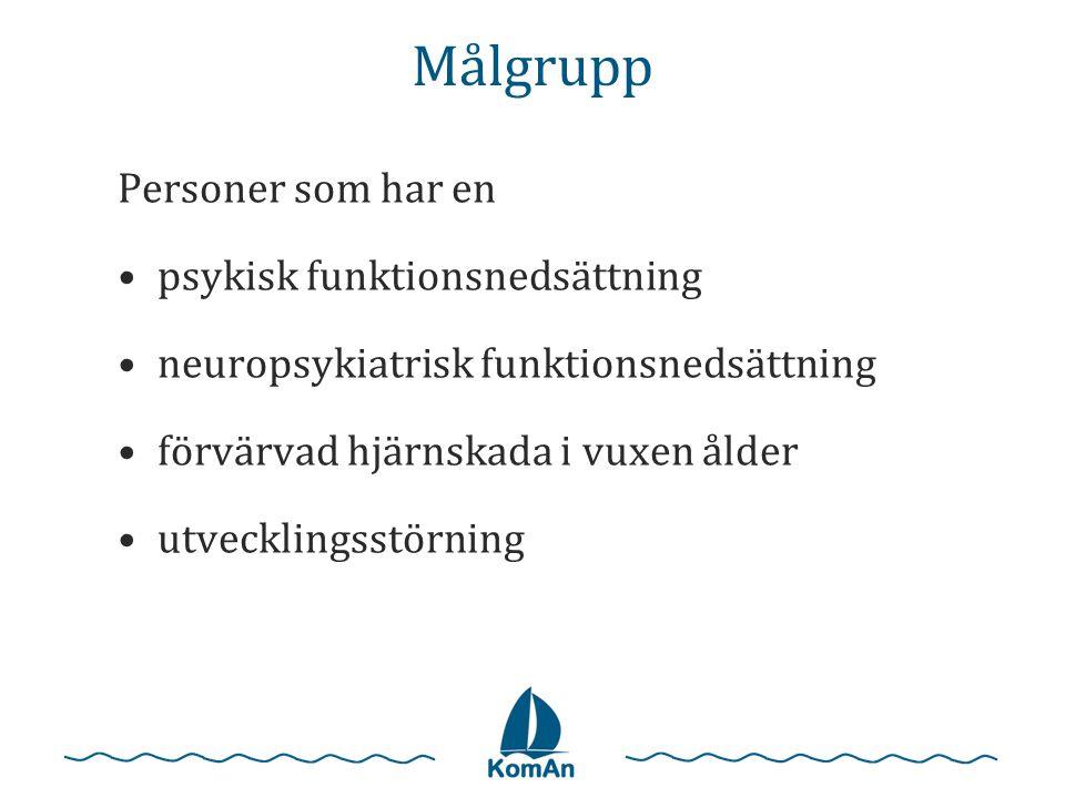 Målgrupp Personer som har en •psykisk funktionsnedsättning •neuropsykiatrisk funktionsnedsättning •förvärvad hjärnskada i vuxen ålder •utvecklingsstör