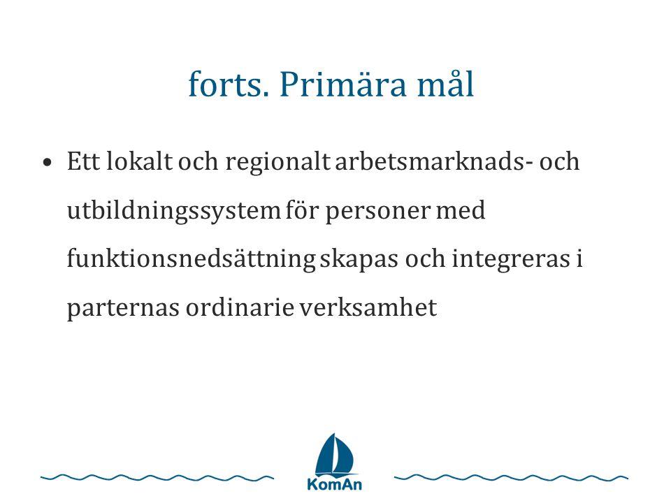 forts. Primära mål •Ett lokalt och regionalt arbetsmarknads- och utbildningssystem för personer med funktionsnedsättning skapas och integreras i parte