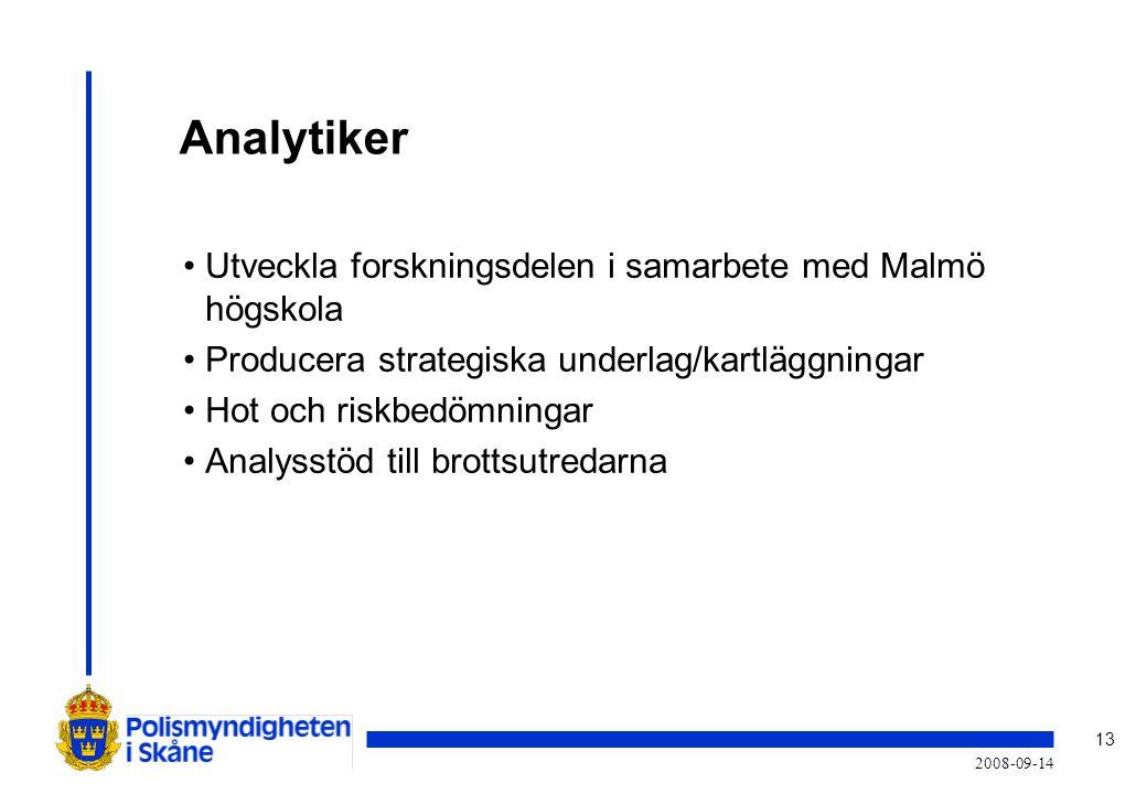13 2008-09-14 Analytiker •Utveckla forskningsdelen i samarbete med Malmö högskola •Producera strategiska underlag/kartläggningar •Hot och riskbedömningar •Analysstöd till brottsutredarna