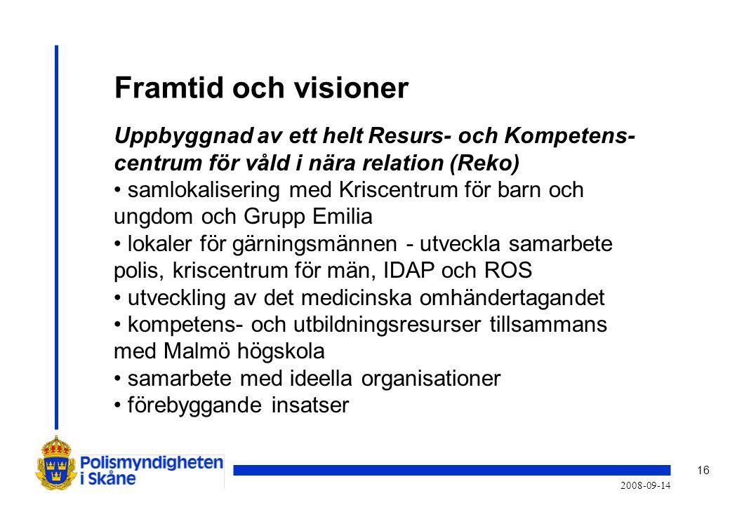 16 2008-09-14 Framtid och visioner Uppbyggnad av ett helt Resurs- och Kompetens- centrum för våld i nära relation (Reko) • samlokalisering med Kriscentrum för barn och ungdom och Grupp Emilia • lokaler för gärningsmännen - utveckla samarbete polis, kriscentrum för män, IDAP och ROS • utveckling av det medicinska omhändertagandet • kompetens- och utbildningsresurser tillsammans med Malmö högskola • samarbete med ideella organisationer • förebyggande insatser