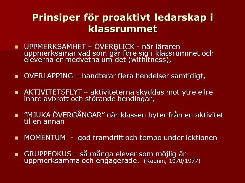 Prinsiper för proaktivt ledarskap i klassrummet  UPPMERKSAMHET – ÖVERBLICK - när läraren uppmerksamar vad som går före sig i klassrummet och eleverna